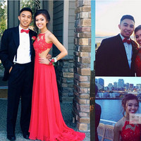 2015 Sexy New Red Halter prom dresses celebrity dresses Chiffon Floor Length Prom Dresses Lace Applique Beaded Sheer Back Evening Gowns