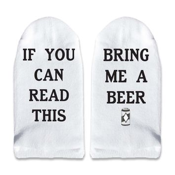 If You Can Read This Bring Me a Beer - Men's No Show Socks Printed with Text on Sole