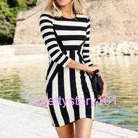 New Woman Girl Sexy Tight Slim Fit Trendy Stripe Print Dresses Skirt