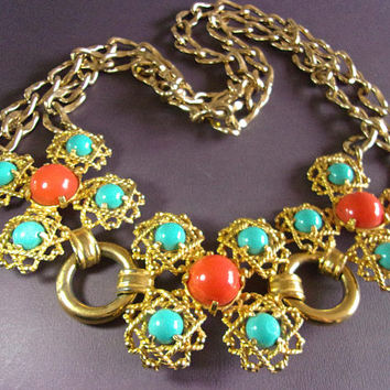 CASTLECLIFF Turquoise Coral Cabochon Necklace Gold Tone Front Opening Vintage