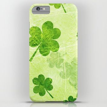 Green Shamrocks iPhone & iPod Case by Samantha Lynn