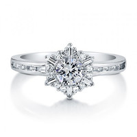 Round Cut CZ Sterling Silver Snowflake Ring