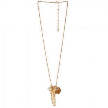 Faux Pearl Feather Leaf Sweater Chain - Golden