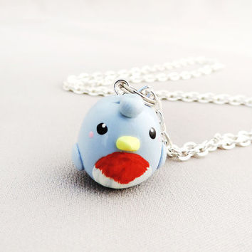 Eastern Bluebird Necklace Polymer Clay Animal Jewelry
