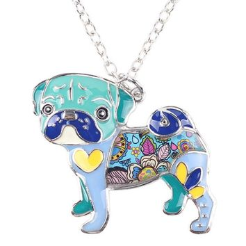 Statement Metal Alloy Enamel Pug Dog Choker Necklace Chain Collar Bulldog Pendant Fashion New Enamel Jewelry  Women