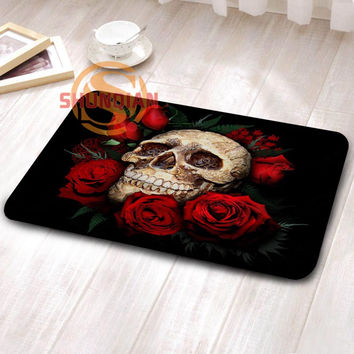 Fashion boutique Custom flowers skull Doormat Bedroom Mats Floor Mat Outdoor Rugs