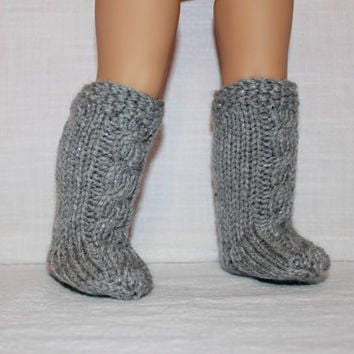 hand knit socks, grey sparkle knee high cable socks, 18 inch doll clothes, american girl, maplelea