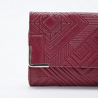 Ecote Geometric Embossed Leather Wallet in Burgundy - Urban Outfitters