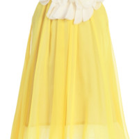 Yellow & Ivory Chiffon Shift Dress with Petal Trim Girls 2T-14