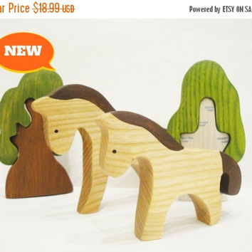 ON SALE Horse Mom and Baby Waldorf Montessori toy Miniature animal figurines Nature table Farm animals Handmade Toys for boys Gift idea Baby