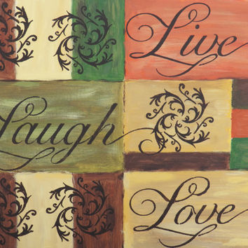 Live Love Laugh Sign, Acrylic Painting, 16 x 20 Painting, Earth Tone Art, Teen Art, Inspirational Quote, Acrylic Canvas Painting , Word Art