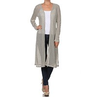 Casual Striped Open Front Long Duster Light Draped Knit Cardigan