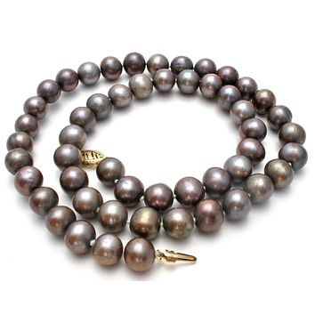 Hand Knotted Gray Pearl Necklace 14K Gold