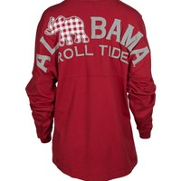 Official NCAA Venley University of Alabama Crimson Tide UA ROLL TIDE! Women's Long Sleeve Spirit Wear Jersey T-Shirt