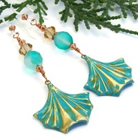 Turquoise Brass Fans Handmade Earrings Czech Glass Swarovski Jewelry