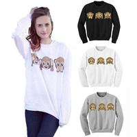 Autumn 2015 Casual Women Sweatshirt Emoji Monkey Funny Printed Jogging Suits Women Hoodie Pullover Women Tracksuits Sport Suits = 1932517508