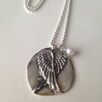 Guardian Angel Wings Wax Seal Pendant Necklace, Fine Silver, Sterling Silver