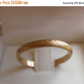 SALE 10% OFF 14k solid gold wedding band 2.2mm gold wedding ring hammered gold wedding band ring engagement gold ring made to order