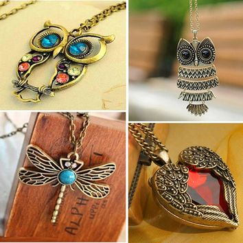 New Fashion Statement Owl Crystal Necklaces Pendants For Women As A Gift,Gold & Silver Chain Long Jewelry,collier female