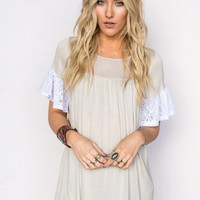 Flared Lace Sleeve Tunic In Taupe