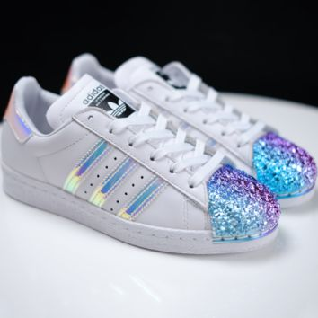 Adidas Trending Casual Shamrock SUPERSTAR metal shell head shining shoes White+Rainbow toe cap Black G