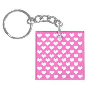Pink and White Hearts Keychain