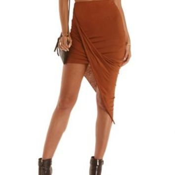 Warm Taupe Draped Asymmetrical Skirt by Charlotte Russe