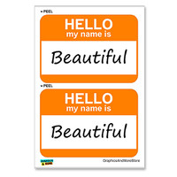 Beautiful Hello My Name Is - Sheet of 2 Stickers