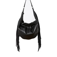 French Connection Shoulder Bag with Fringing - Black