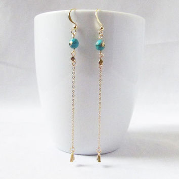 long turquoise drop earrings long dangle earrings, boho style earrings,