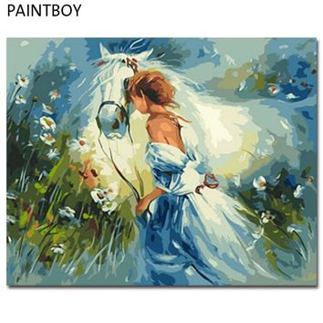 PAINTBOY Framed DIY Digital Oil Painting By Numbers Of Horses Painting&Calligraphy Home Decor Wall Art GX9869 40*50cm