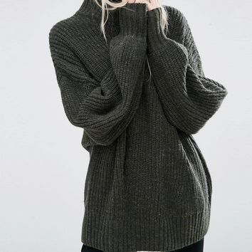 Weekday High Neck Chunky Knit Sweater