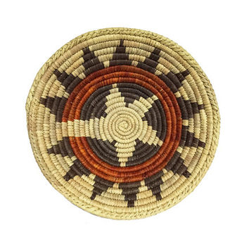 Native Woven Basket / Rich Colors / Orange, Brown Tribal Pattern / Rustic Southwestern Decor / Unique Storage / Vintage Handmade Container