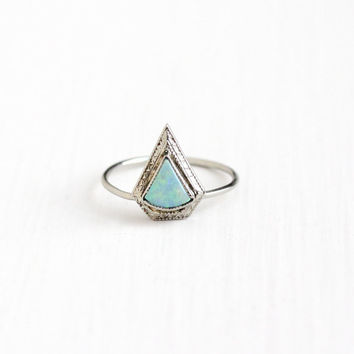 Vintage 10k White Gold Opal Stick Pin Conversion Ring - Antique 1920s Size 6 Art Deco Geometric Design October Birthstone Gem Jewelry