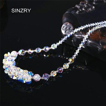 SINZRY jewelry brilliant crystal handmade chokers necklaces  luxury silver glass crysal ball exquisite bridal jewelry