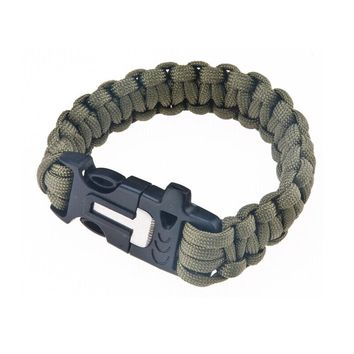 Paracord Survival Bracelet with Knife, Flint and Whistle, Green