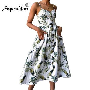 Sexy V Neck Backless Floral Print Summer Beach Dress Women Boho Button Pineapple Daisy Pineapple Party Midi Dresses