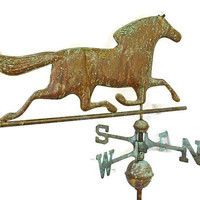 Copper Weathervane, Running Horse Weather Vane, Horse Farm Memborabilia, Garden Metal Art Work, Yard Ornament, Rustic Farmhouse