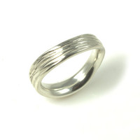 Small Wave Wedding Band  in Sterling Silver - Made to Order