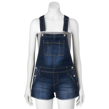 Mudd Denim Overall Shorts - Juniors, Size: