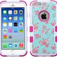 Iphone 6 case, Slim Fit IPhone 6 (4.7 inch) Hybrid Triple Layer Tuff Verge Merge Shield Heavy Duty Hard Cover Fitted Skin Case Protector + Clear LCD Screen Protector Shield Guard + Touch Screen Stylus Pen (Teal Floral / Pink Tuff)
