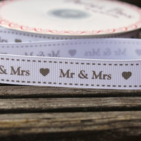 Mr & Mrs grosgrain 15mm wide printed ribbon for crafts or gift wrapping