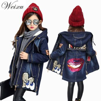 Trendy Weixu Winter Denim Jackets For Girls Fleece Lined Sequined Outewear Jeans Jacket Children Kids Thicken Warm Long Coat Clothing AT_94_13