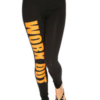 Orange Black Wording Print Elastic Waist Leggings