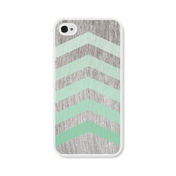 Mint Green Wood Ombre Geometric Chevron Apple iPhone 4 Case - Plastic iPhone 4 Cover - iPhone 4 Skin - Brown Wood Cell Phone Case