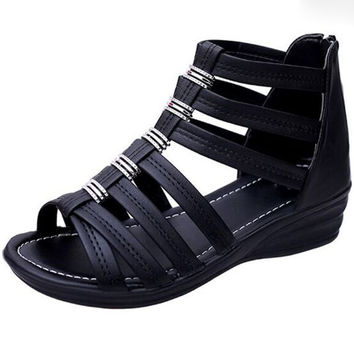 Gladiator Sandals Rivet Casual Summer Women platform wedge open-toed sandals increased hollow out zipper women sandals