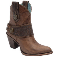Corral Tan Engraved Harness Ankle Boots