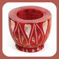 Red Stone Tealight Candle Holder