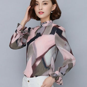 Print Chiffon Blouse 2016 Autumn Stand Collar Long Sleeve Women Tops Korean Fashion Clothing Casual Office Wear Shirt S2596