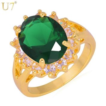 U7 Brand Luxury Green CZ Crystal Rings High Quality Gold Color Trendy Round Wedding Band Ring For Women Gift R324
